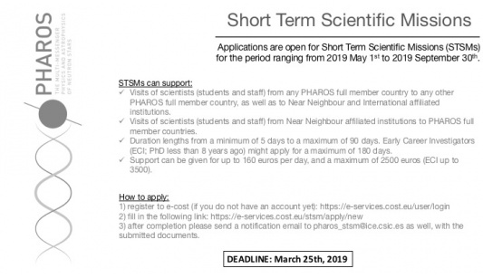 PHAROS Open Call for Short Term Scientific Missions (STSMs)